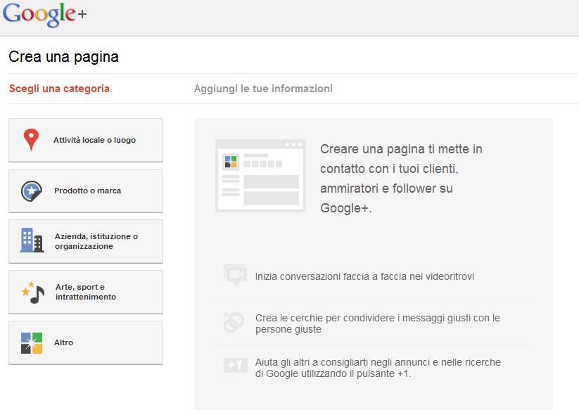 Schermata per la creazione di una Google Page