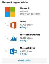Microsoft ha oltre dieci Pagine Vetrina collegate alla sua Pagina Aziendale
