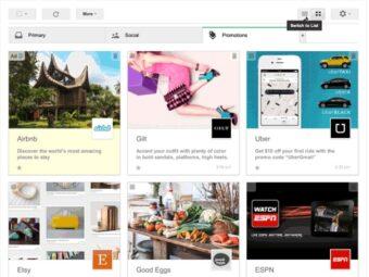Nuova visualizzazione Gmail stile Pinterest