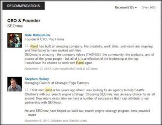 Raccomandazioni sul profilo Linkedin di Rand Fishkin, co-fondatore di Moz -in precedenza SeoMoz (fonte immagine: http://goo.gl/wruOSL))
