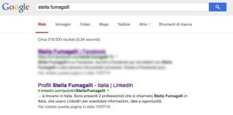 Il nostro profilo Linkedin è tra i primi risultati se cerchiamo il nostro nome su Google