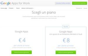 I prezzi di un account Google Apps for Work sono alla portata, e la concorrenza li spinge sempre più in basso (fonte: http://goo.gl/jicTR0)
