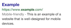 Etichetta sito Mobile Friendly Google