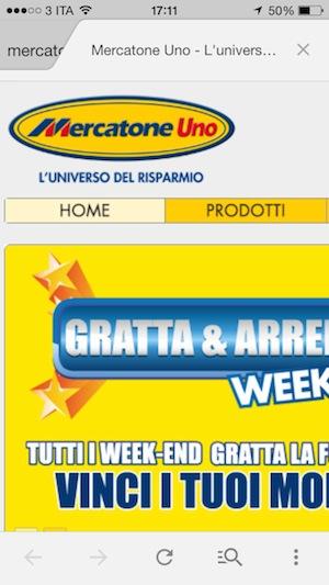 Mercatone Uno sito per smartphone
