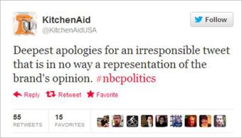 Il tweet di scuse di Kitchen Aid dopo una figuraccia colossale (fonte immagine: http://goo.gl/6GPIR)