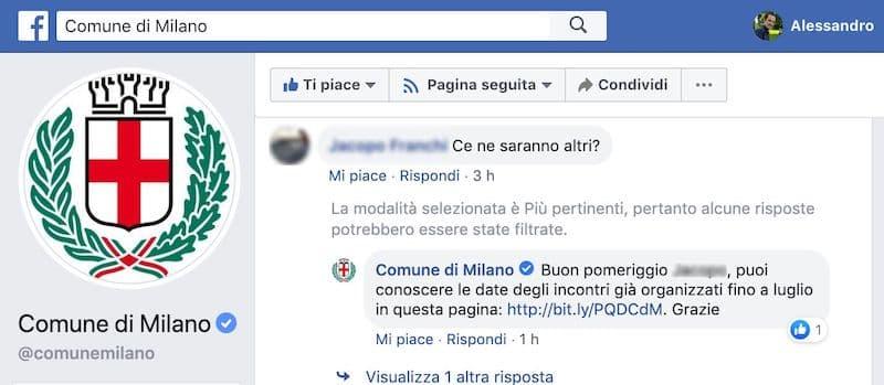 spunta blu pagina facebook comune di milano